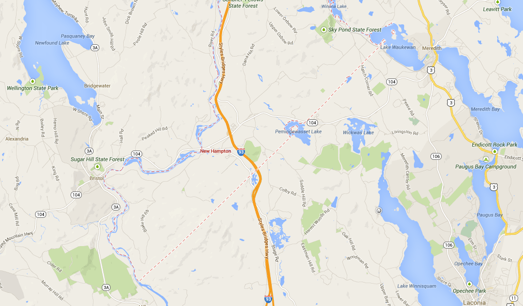 The town of New Hampton spans either side of Interstate 93 at exit 23. The land is about 2.5 miles west of I-93.